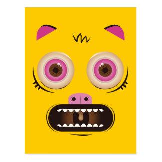 Funny crazy monster postcard