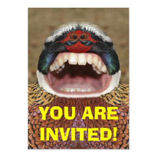 Funny Creepy Pheasant Monster Invitation Card