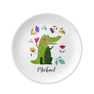 Funny Crocodile | Custom Name Porcelain Plates