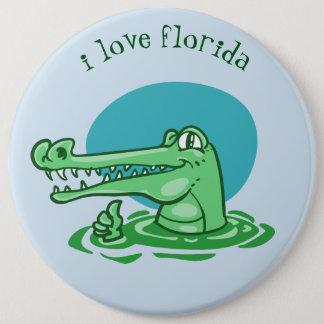 funny crocodile i love florida cartoon 6 inch round button