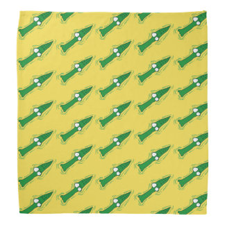 funny crocodile looking to us cartoon bandana
