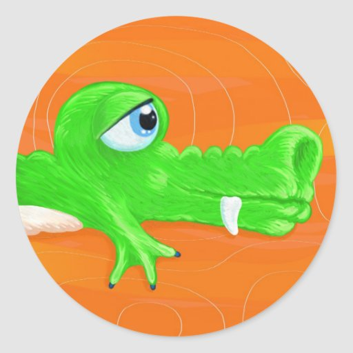 Funny crocodile painting, sticker