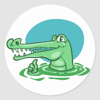 funny crocodile shown ok sign cartoon classic round sticker