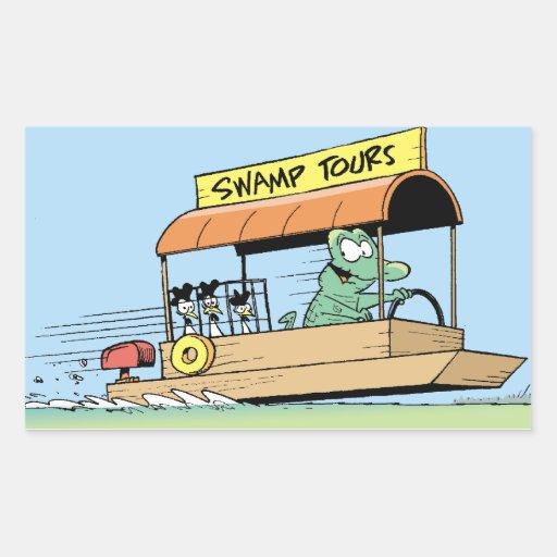 Funny Crocodile Tour Boat Comic Rectangle Stickers