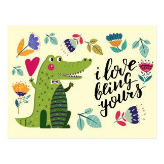 Funny Crocodile Valentine's Day Postcards