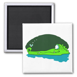 funny crocodile wathes fly cartoon magnet