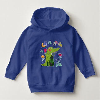 Funny Crocodile with Heart  Custom Baby Hoodie