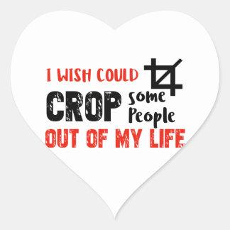 Funny crop people Geek designs Heart Sticker