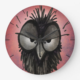 Funny Cross Cartoon Owl on Pink Wallclocks