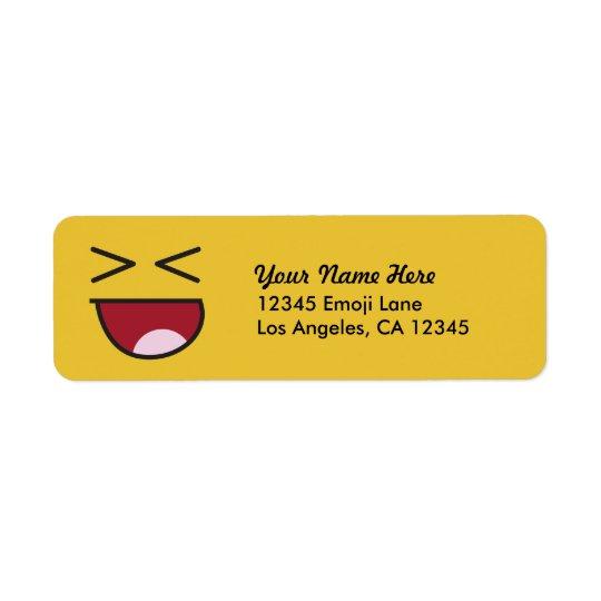 Funny crossed eyed laughing Emoji Return Address Label