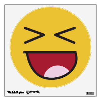 Funny crossed eyed laughing Emoji Wall Sticker