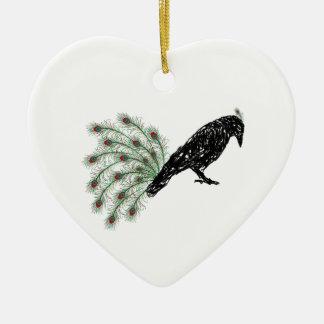 funny crow ceramic ornament