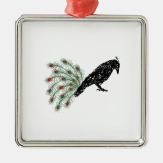 funny crow metal ornament
