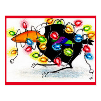 Funny Crow Winter Christmas lights postcard