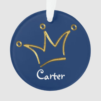 Funny Crown gold + your backgr. & text Ornament