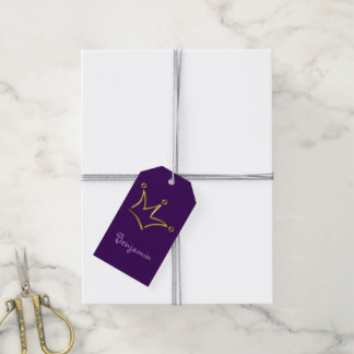 Funny Crown gold + your backgr. & text Pack Of Gift Tags