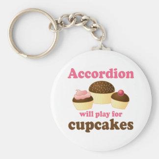 Funny Cupcake Accordion Music Quote Gift Keychain