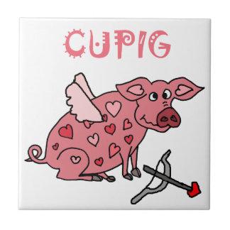 Funny Cupig Love Pig Tile