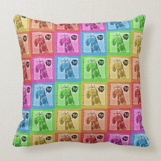 funny curious giraffe cartoon throw pillow