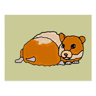 Funny Curled up Hamster Cartoon Postcard