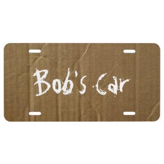 Funny Custom Cardboard License Plate