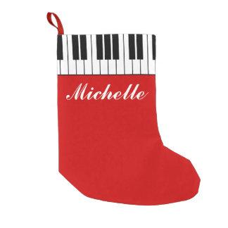 Funny custom Christmas stocking with piano keys Small Christmas Stocking