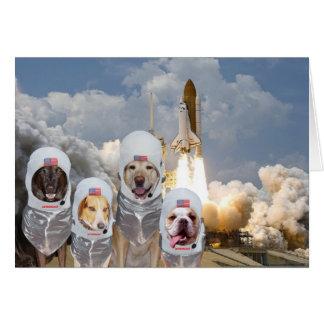 Funny Customizable Astronaut Dogs Birthday Blast Card