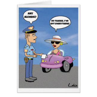 Funny customized cartoon drinking & driving card