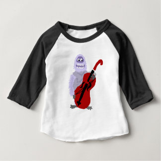 Funny Cute Abominable Snowman with Cello Baby T-Shirt