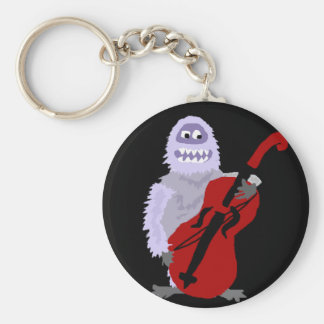 Funny Cute Abominable Snowman with Cello Keychain