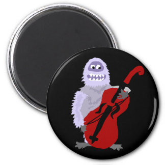 Funny Cute Abominable Snowman with Cello Magnet
