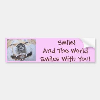 funny cute akita smiling realist dog art bumper sticker