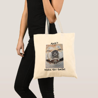 funny cute akita smiling slogan realist dog art tote bag