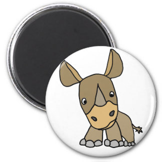 Funny Cute Baby Rhino 2 Inch Round Magnet