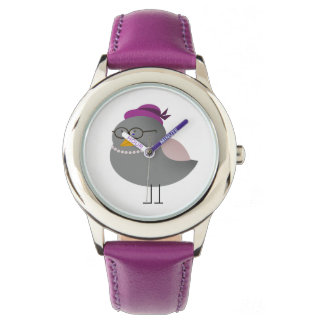 Funny Cute Bird Retro Lady Glasses Purple Adorable Watch