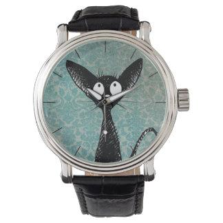 Funny Cute Black Cat Art on Blue Damask Watch