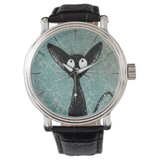 Funny Cute Black Cat Art on Blue Damask Watches