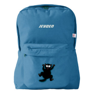 Funny Cute Black Scared Cartoon Cat, kitten Backpack