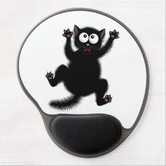 Funny Cute Black Scared Cartoon Cat, kitten Gel Mouse Pad