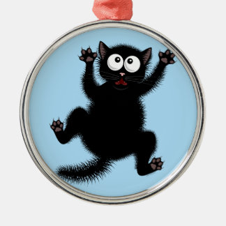 Funny Cute Black Scared Cartoon Cat, kitten Silver-Colored Round Ornament