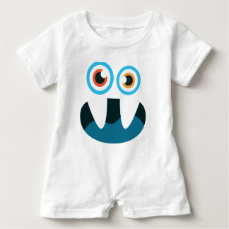 Funny Cute blue monster face open mouth Baby Romper