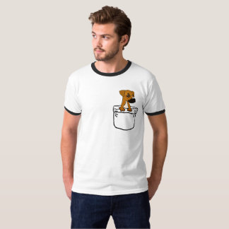 Funny Cute Boxer Mix Puppy Dog in a Pocket T-Shirt