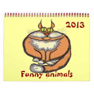 Funny cute cartoon animals 2014 calendar