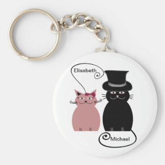 funny cute cartoon cats love couple personalized keychain