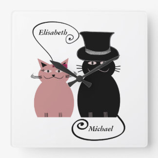 funny cute cartoon cats love couple personalized square wall clock