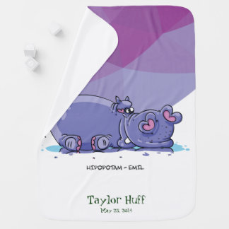 Funny Cute Cartoon Hippo Swaddle Blankets