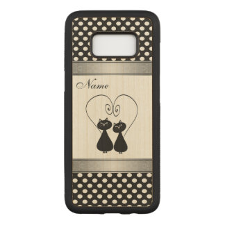 Funny cute cats in love polka dots personalized carved samsung galaxy s8 case