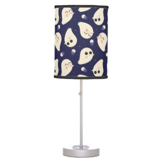 Funny cute chibi Halloween ghosts navy blue Table Lamp