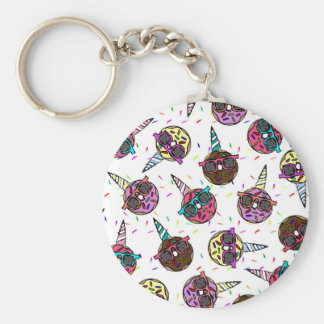 Funny Cute Colorful Unicorn Donut with Sunglasses Keychain