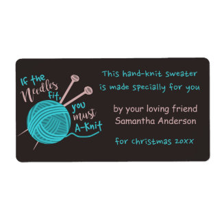 Funny Cute Custom Knitting Needles Yarn Joke Gift Shipping Label